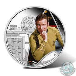 2015 Tuvalu $1 Star Trek: The Original Series Captain James T. Kirk Fine Silver 1oz Proof Coin (caps