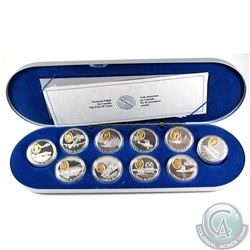 1990-1994 Canada $20 Aviation Series One Sterling Silver with Gold Plating 10-Coin Set in Deluxe Box