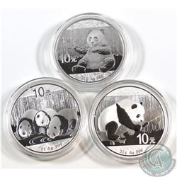 2013, 2016 & 2017 China 1oz .999 Fine Silver Pandas in Capsules (capsules are lightly scratched). 3p
