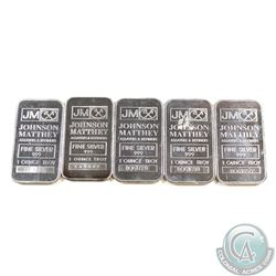 Lot of 5x Johnson Matthey 1oz .999 Fine Silver Bars. 5pcs (TAX Exempt)