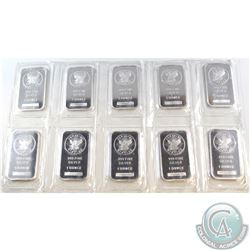 Lot of 10x Sunshine 1oz .999 Fine Silver Bars Sealed in Original Plastic. 10pcs (TAX Exempt)