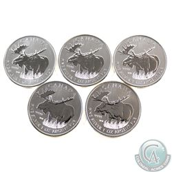 Lot of 5x 2012 Canada Wildlife Series Moose 1oz .9999 Fine Silver Maple Leafs. 5pcs (TAX Exempt)