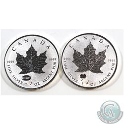 2015 Canada $5 E=MC2 & 2016 Four Leaf Clover Privy Mark 1oz .9999 Fine Silver Maple Leafs (toned). 2