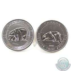2013 & 2015 Canada $8 1.5oz Polar Bear .9999 Fine Silver Coins. 2pcs (TAX Exempt)