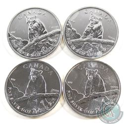 Lot of 4x 2012 Canada $5 Cougar Wildlife Series 1oz .9999 Fine Silver Coins (toned). 4pcs (TAX Exemp