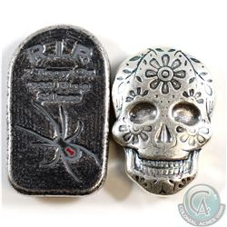 2oz R.I.P Black Widow Tombstone & 2oz Blue Coloured Sugar Skull .999 Fine Silver Monarch Precious Me