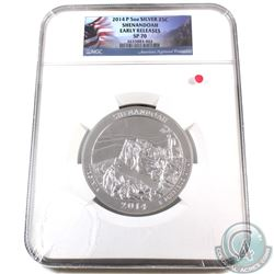 2014 P USA Shenandoah 25-cent Fine Silver 5oz Coin NGC Certified SP-70 Early Releases (TAX Exempt)-