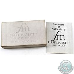 First Majestic Mint 1 Kilo .999 Fine Silver Bar with COA & Outer Cardboard Box. #001061 (TAX Exempt)