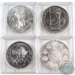 Lot of 4x 2012 1oz .999 Fine Silver Coins - Mexico Libertad, Austria Philharmonic, Great Britain Bri