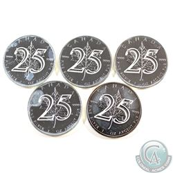 Lot of 5x 2013 Canada $5 25th Anniversary of the Maple Leaf .9999 Fine Silver Maple Leafs (toned). 5