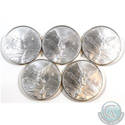 Lot of 5x 2011 Mexico 1oz .999 Fine Silver Libertads. 5pcs (TAX Exempt)