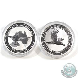 1996 & 2002 Australia 1oz .999 Fine Silver Kookaburras in Capsules (capsules are scuffed). 2pcs (TAX