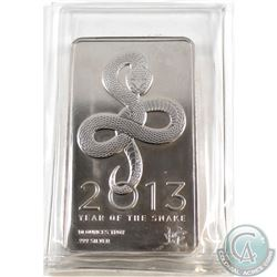 2013 Year of the Snake 10oz .999 Fine Silver Bar in Original Sealed Plastic (TAX Exempt)