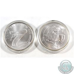 "Lot of 2x Silver Shield 1oz .999 Fine Silver Rounds - ""Don't Tread on Me"" Snake & ""Ag"" Bull (capsule"