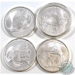 Lot of 4x Tokelau $5 1oz .999 Fine Silver Fish Series Coins - 2014 Yellowfin Tuna, 2015 Great White