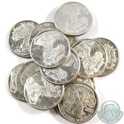 Lot of 15x Golden State Mint Walking Liberty 1/4oz .999 Fine Silver Rounds (coins are toned). 15pcs