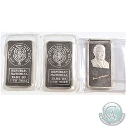 "2x JM ""Republic National Bank of New York"" & 1x The Hamilton Mint ""Warren G. Harding"" 29th President"