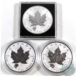 Lot of 3x Canada $5 Privy Mark 1oz .9999 Fine Silver Maple Leafs - 2016 Wolf, 2016 Grizzly & 2017 Co