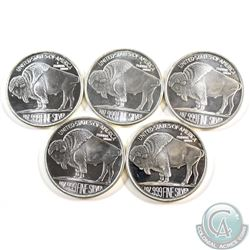 Lot of 5x 2013 USA Liberty Buffalo Indian Head 1oz .999 Fine Silver Rounds. 5pcs (TAX Exempt)