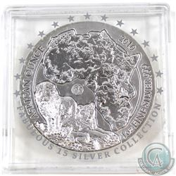 2010 Rwanda 1oz .999 Fine Silver Lion Fabulous 15 African Ounce in Capsule (capsule taped together &