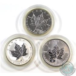 Lot of 3x Canada $5 Privy Mark 1oz .9999 Fine Silver Maple Leafs - 1998 RCM, 1998 RCMP & 1999-2000 F