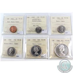 Lot of 6x Canada ICCS Certified PL-64 Coins. You will receive 1959 1-cent Red Heavy Cameo, 1964 5-ce
