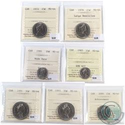 Lot of 7x Canada ICCS Certified MS-64 Coins. You will receive 1980 10-cent Wide Date, 1985 10-cent,