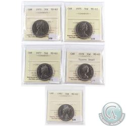 Lot of 5x Canada 50-cent ICCS Certified MS-63 - 1970, 1975, 1977, 1978 Square Jewel & 1987. 5pcs