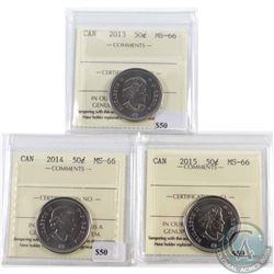 2013, 2014 & 2015 Canada 50-cent ICCS Certified MS-66. 3pcs