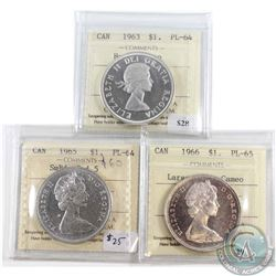 Lot of 3x Canada Silver $1 ICCS Certified PL-64 & PL-65. You will receive 1963 PL-64 Heavy Cameo, 19