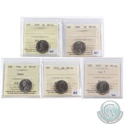 Lot of 5x Canada 5-cent ICCS Certified MS-64 - 1958, 1960, 1964 Cameo, 1975 & 1977 Low 7. 5pcs
