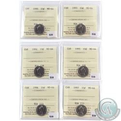 Lot of 6x Canada 10-cent ICCS Certified MS-64 - 1990, 1993, 1994, 1995, 1996 & 1997. 6pcs
