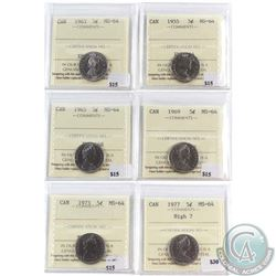 Lot of 6x Canada 5-cent ICCS Certified MS-64 - 1955, 1963, 1965, 1969, 1973 & 1977 High 7. 6pcs