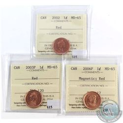 2002, 2003P & 2006P Magnetic Canada 1-cent ICCS Certified MS-65 Red. 3pcs