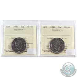 2015 & 2016 Canada 50-cent ICCS Certified MS-66. 2pcs