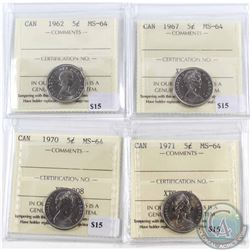 Lot of 4x Canada 5-cent ICCS Certified MS-64 - 1962, 1967, 1970 & 1971. 4pcs
