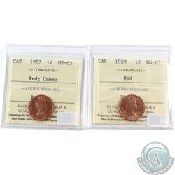 1957 Cameo & 1959 Canada 1-cent ICCS Certified MS-65 Red. 2pcs