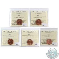 Lot of 5x Canada 1-cent ICCS Certified MS-64 Red - 1993, 1994, 1995, 1996 & 1998. 5pcs