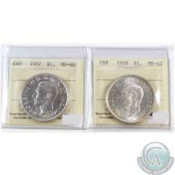 1937 Canada Silver $1 ICCS Certified MS-60 & 1939 Silver $1 ICCS Certified MS-62. 2pcs