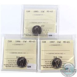 1995, 1996 & 1997 Canada 10-cent ICCS Certified MS-65. 3pcs