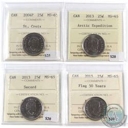Lot of 4x Canada 25-cent ICCS Certified MS-65 - 2004P St. Croix, 2013 Arctic Expedition, 2013 Secord