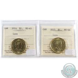 2014 Loon $1 ICCS Certified MS-65 & 2015 Loon $1 MS-66. 2pcs