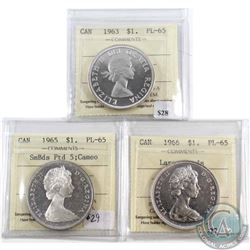 Lot of 3x Canada Silver $1 ICCS Certified PL-65 - 1963 Cameo, 1965 Small Beads Pointed 5 Cameo & 196