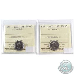 1999 & 2000 Canada 10-cent ICCS Certified MS-65. 2pcs