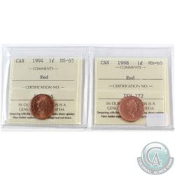 1994 & 1998 Canada 1-cent ICCS Certified MS-65 Red. 2pcs