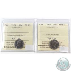 1978 & 1979 Canada 10-cent ICCS Certified MS-65. 2pcs