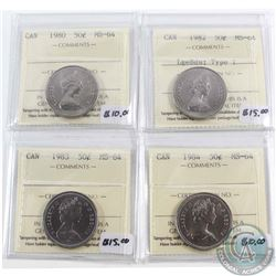 Lot of 4x Canada 50-cent ICCS Certified MS-64 - 1980, 1982 Large Beads Type 1, 1983 & 1984. 4pcs