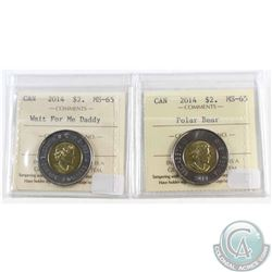 2014 Polar Bear & 2014 Wait for Me Daddy Canada $2 ICCS Certified MS-65. 2pcs