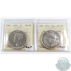1950 Canada Silver $1 Arnprior ICCS Certified AU-50 (cleaned) & 1950 Silver $1 SWL MS-60. 2pcs