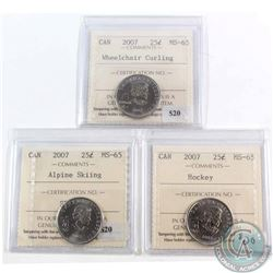 2007 Wheelchair Curling, Alpine Skiing & Hockey Canada 25-cent ICCS Certified MS-65. 3pcs